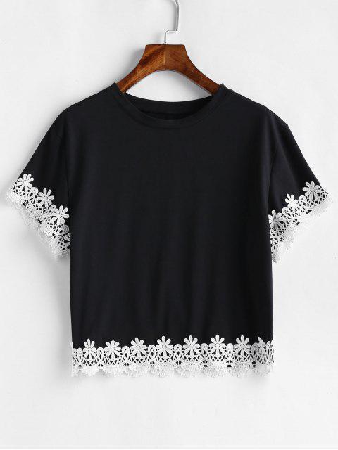 latest Flower Crochet Drop Shoulder T-shirt - BLACK M Mobile