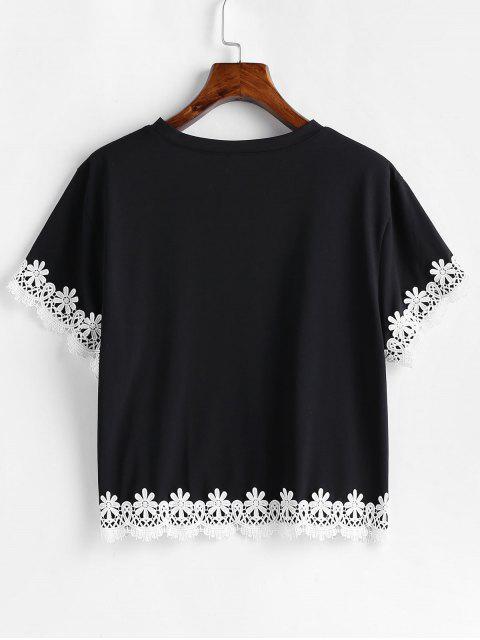 T-shirt Fleur au Crochet à Goutte Epaule - Noir M Mobile