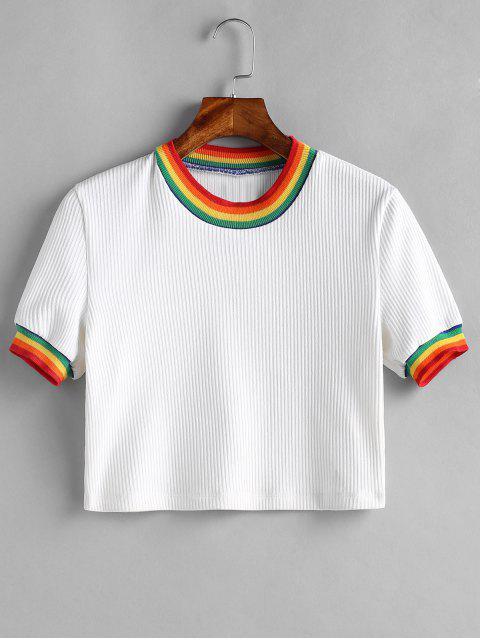 Camiseta de rayas acanalada - Blanco M Mobile
