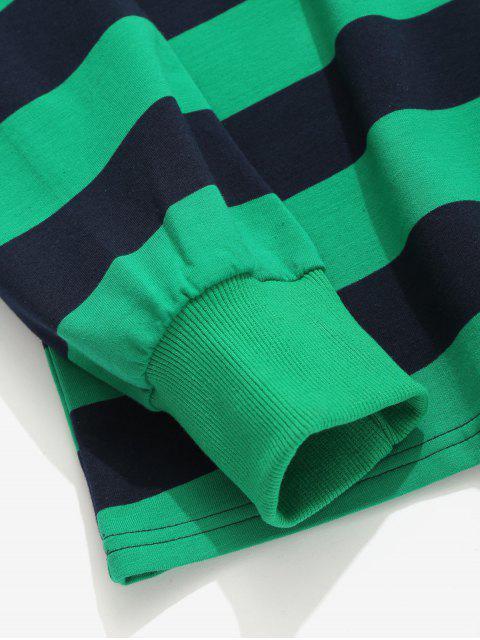 outfit Contrast Horizontal Stripe T-shirt - LIGHT SEA GREEN L Mobile
