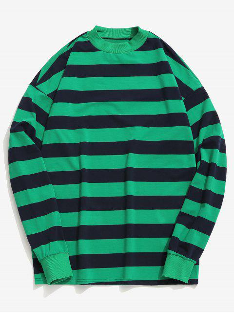 outfit Contrast Horizontal Stripe T-shirt - LIGHT SEA GREEN L Mobile