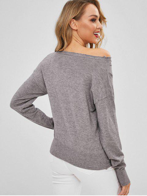 new Skew Neck Keyhole Drop Shoulder Sweater - GRAY ONE SIZE Mobile