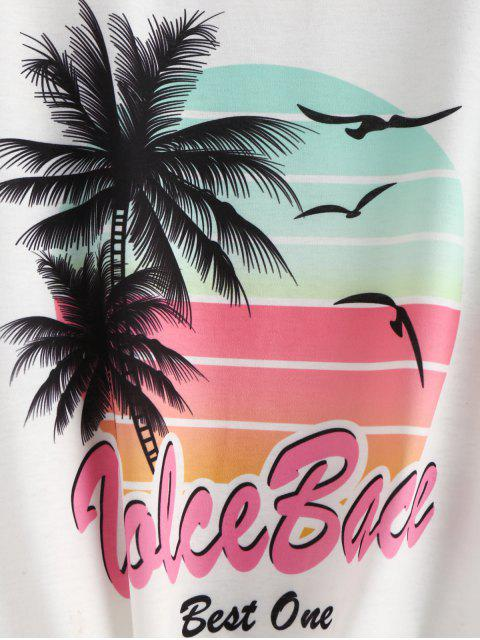 women Knotted Graphic Palm Tree Tee - WHITE L Mobile