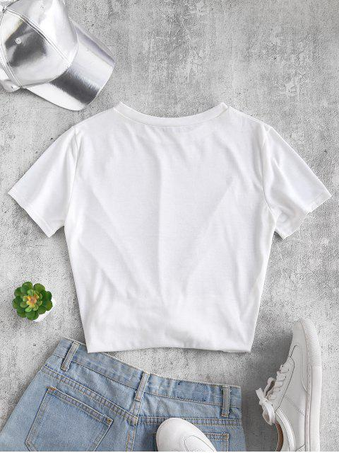 women ZAFUL Gesture Graphic Tee - WHITE L Mobile