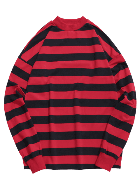 affordable Contrast Horizontal Stripe T-shirt - RED L Mobile
