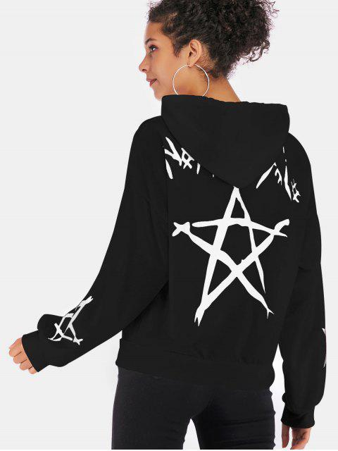 outfits Star Graphic Hoodie - BLACK S Mobile