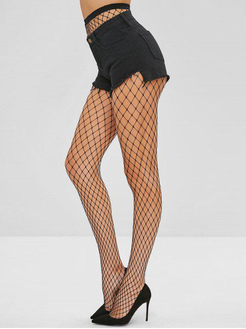 online High Waisted Fishnet Tights - BLACK ONE SIZE Mobile