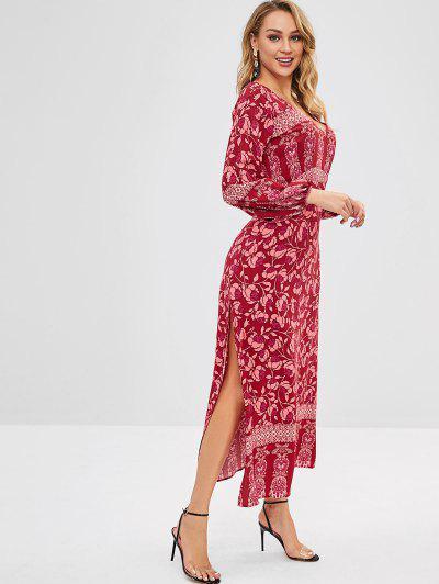 a6149d4aba ... ZAFUL Backless Plunge Floral Maxi Slit Dress - Rojo M