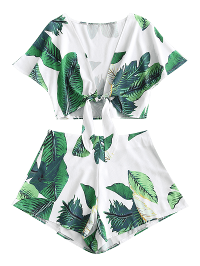 ZAFUL Leaf Print Knotted Two Piece Shorts Set, White