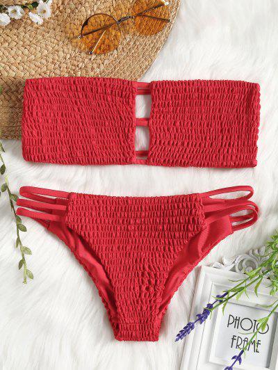 Bandeau Smocked Bikini BH Mit Badehose - Rot L