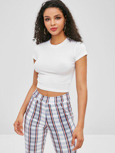 Short Sleeve Cropped Plain Top - White M