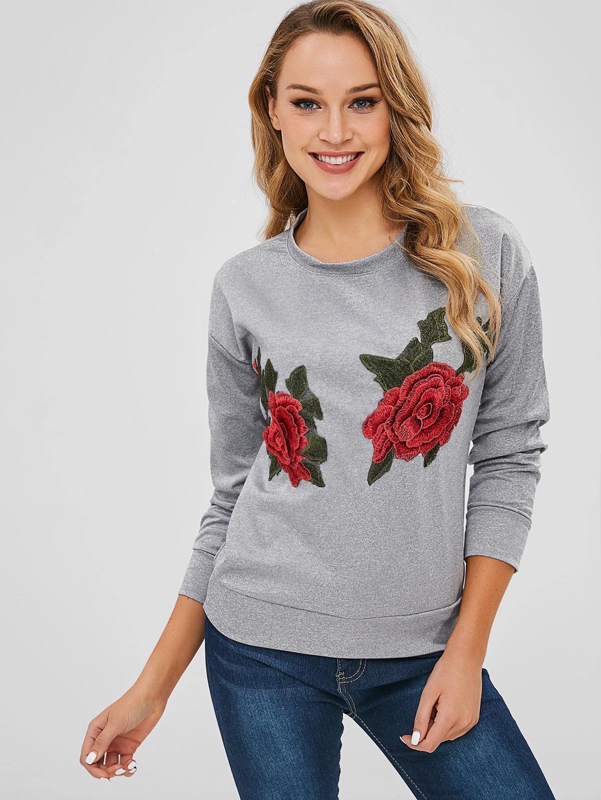 Flower Applique Drop Shoulder Heather Sweatshirt