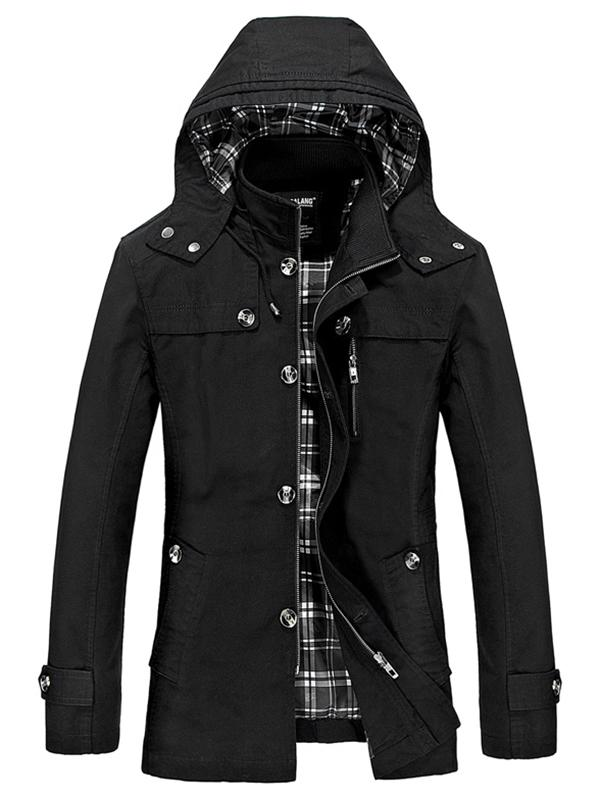 Boutons Zip Hooded Trench Coat