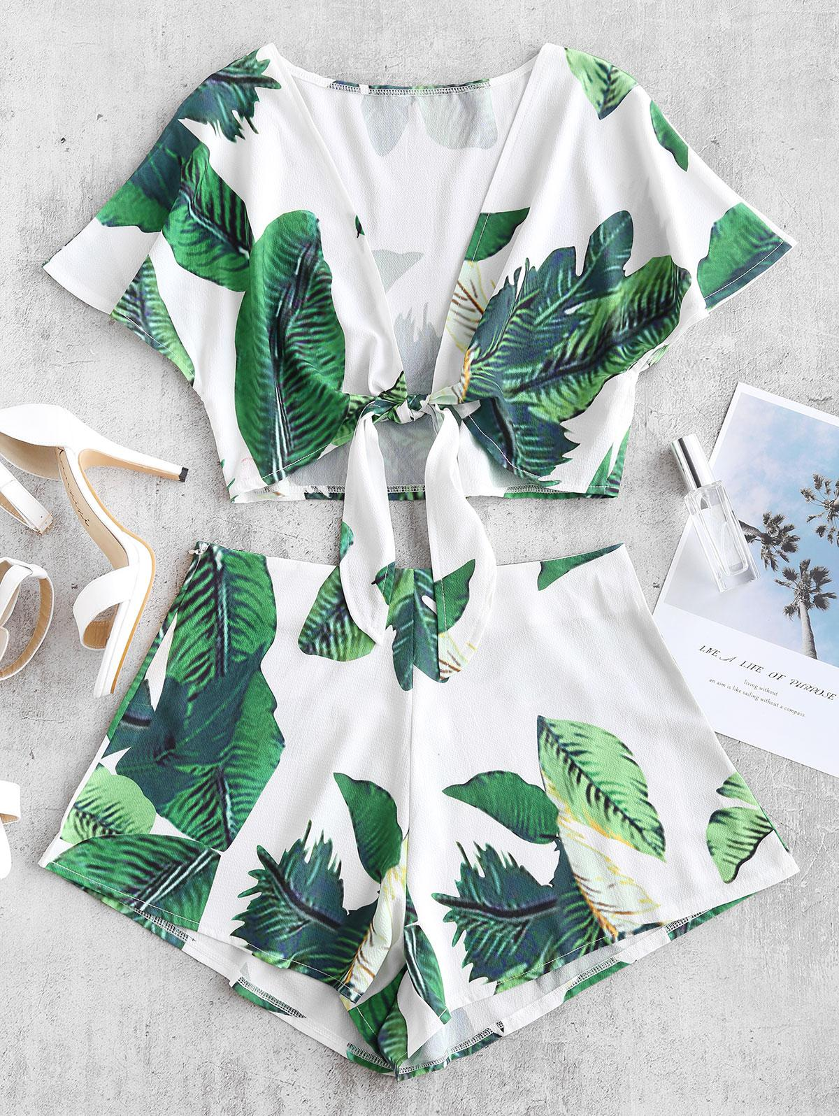 ZAFUL Leaf Print Knotted Two Piece Shorts Set
