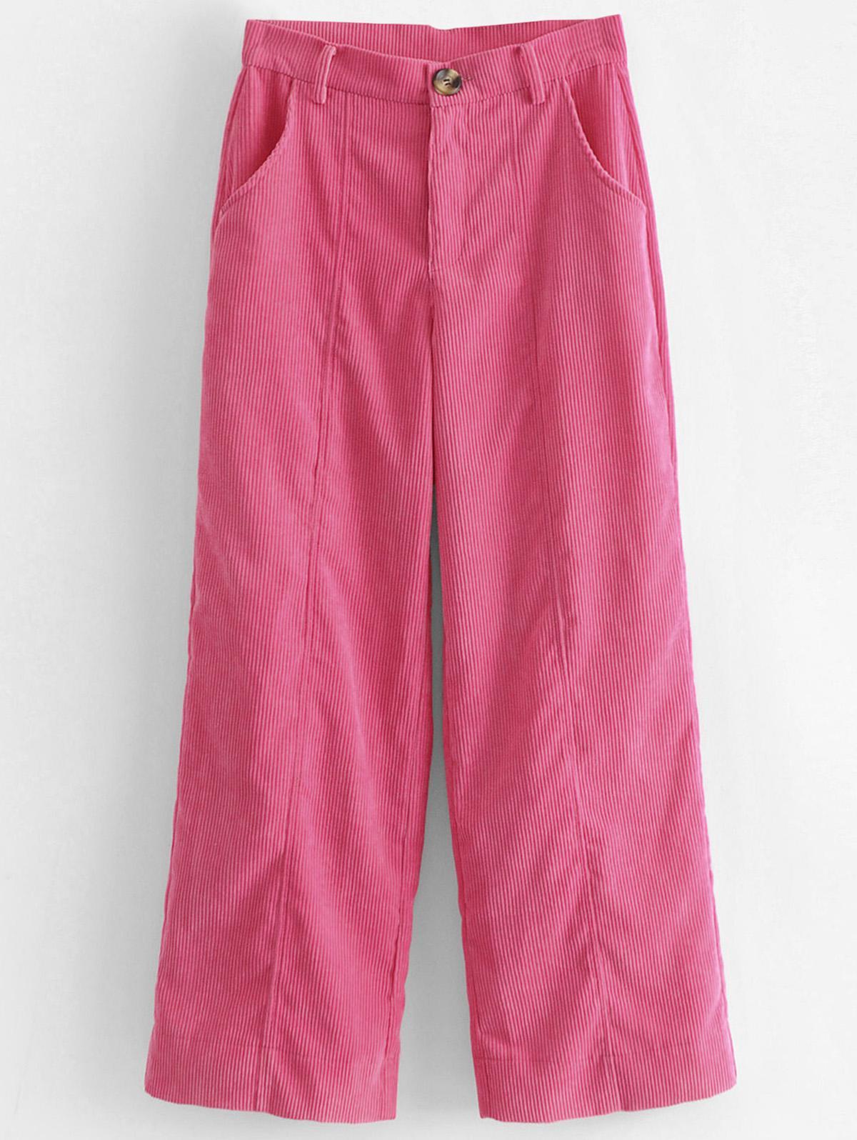Wide Leg High Waisted Corduroy Pants, Hot pink