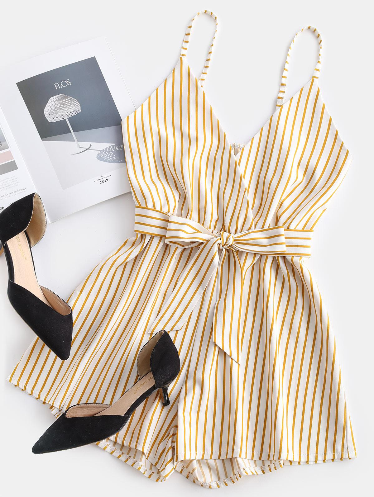 ZAFUL Striped Surplice Cami Romper