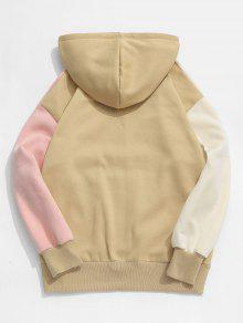 ZAFUL Letter Embroidery Fleece Lined Colorblock Hoodie