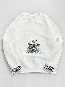ZAFUL الحب القط الجرافيك الصوف اصطف البلوز - أبيض M
