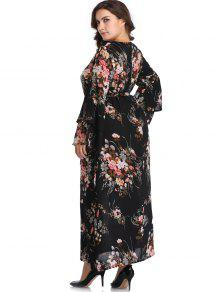 fe0f5fdc2b7 30% OFF  2019 Belted Floral Flare Sleeve Plus Size Dress In BLACK 4X ...