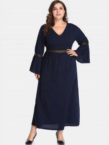 فستان بأكمام طويلة وفتحة مضيئة - طالبا الأزرق 1x
