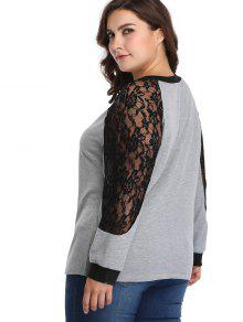 c737b36d6f7 2019 Raglan Sleeve Lace Panel Plus Size Sweatshirt In GRAY 4X