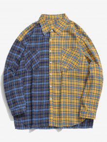 لون كتلة منقوشة جيب قميص عارضة - متعدد Xl