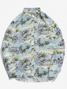 جوز الهند شجرة طباعة قميص هين المتوترة - البحر الأزرق L