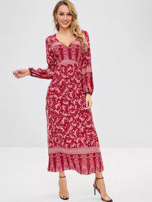 ZAFUL عارية الذراعين يغرق الأزهار فستان ماكسي الشق - أحمر L