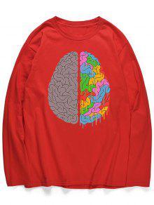 قميص رأس جرافيك بأكمام طويلة - الحمم الحمراء L