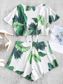 73dd543029 28% OFF   HOT  2019 ZAFUL Leaf Print Crop Knot Top And Shorts Set In ...