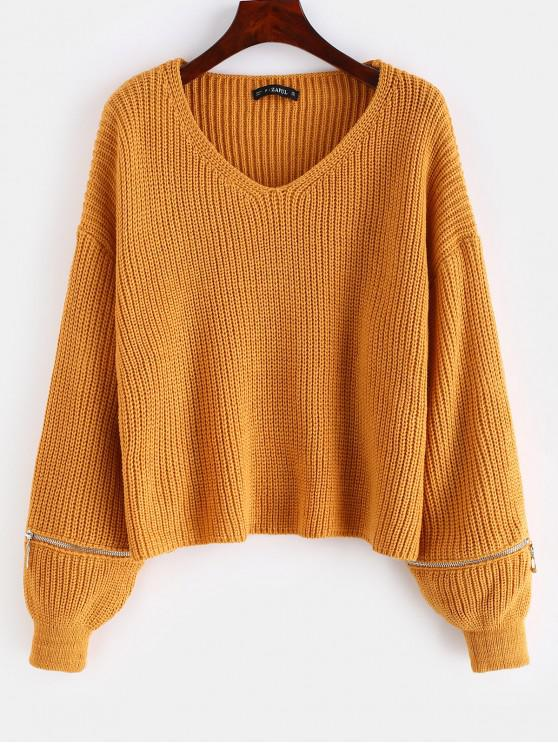 women's Lantern Sleeve Zippered V Neck Sweater - LIGHT BROWN ONE SIZE