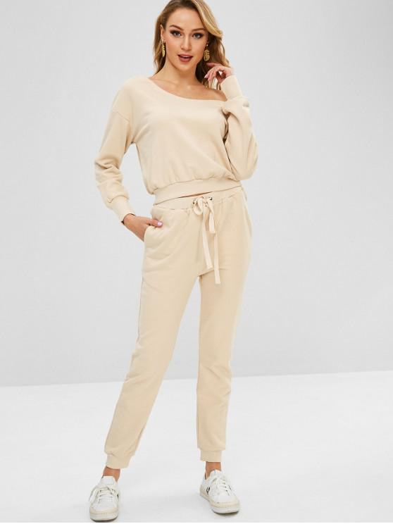new Drawstring Jogger Pants and Sweatshirt Suit - APRICOT L