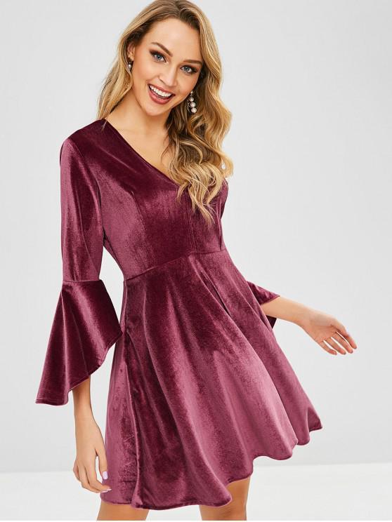 fashion ZAFUL Flare Sleeve Velvet Mini Dress - PLUM VELVET M