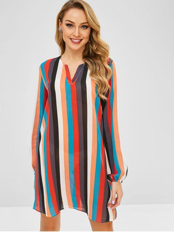 فستان قوس قزح مخطط تونك - متعدد XL