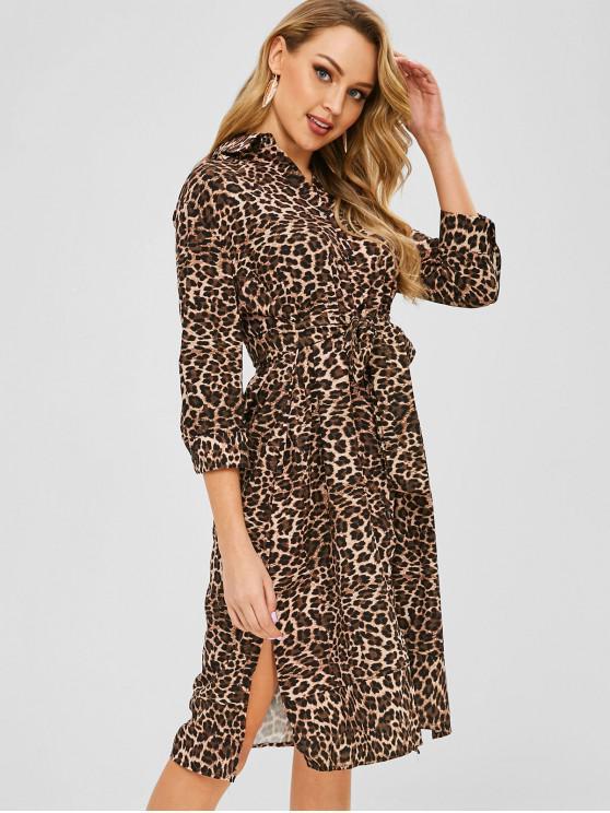 chic Leopard Tie Shirt Dress - LEOPARD M