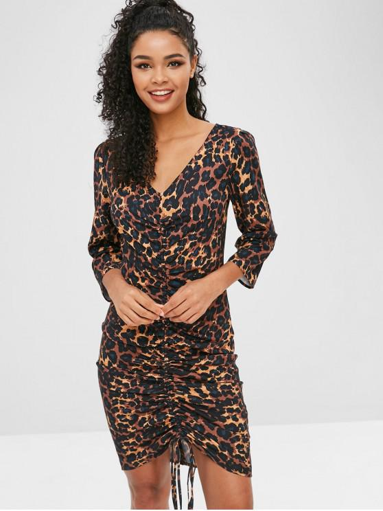 women Cinched Leopard Dress - LEOPARD L