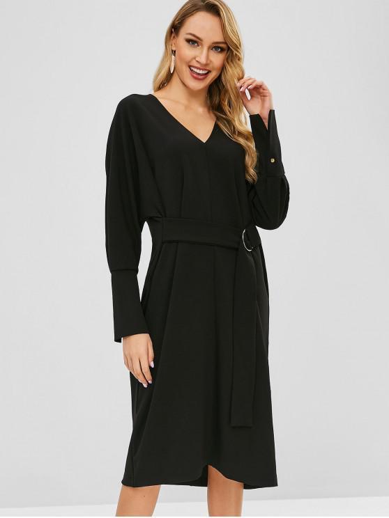 outfits V Neck D-ring Midi Dress - BLACK M