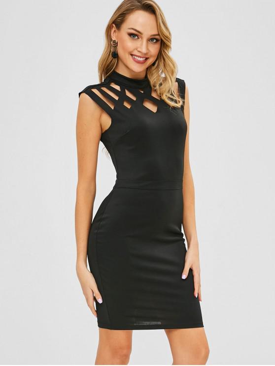 Mini vestido ajustado de Hollow Out - Negro XL