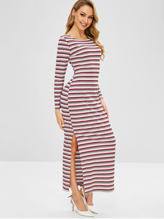 6fb58b76a23 36% OFF  2019 Long Sleeve Striped Knit Bodycon Dress In MULTI