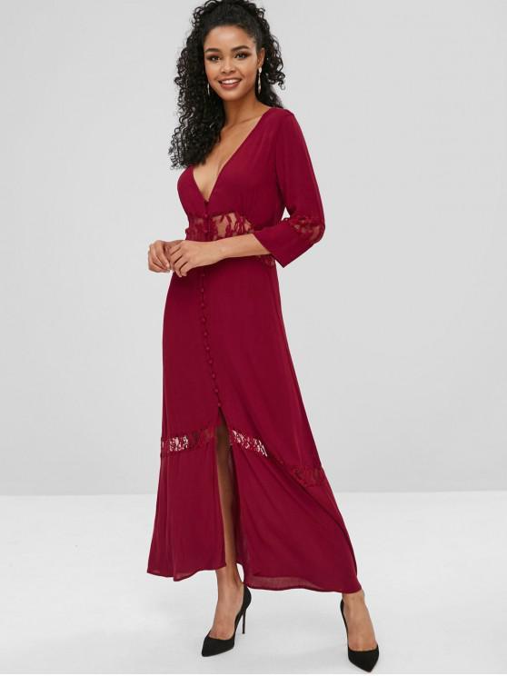 Botão para cima vestido de renda painel maxi - Vinho Tinto L