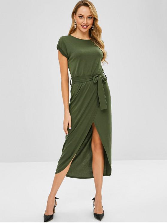 Vestido maxi con cinturón de solapa superpuesta - Verde del ejército M