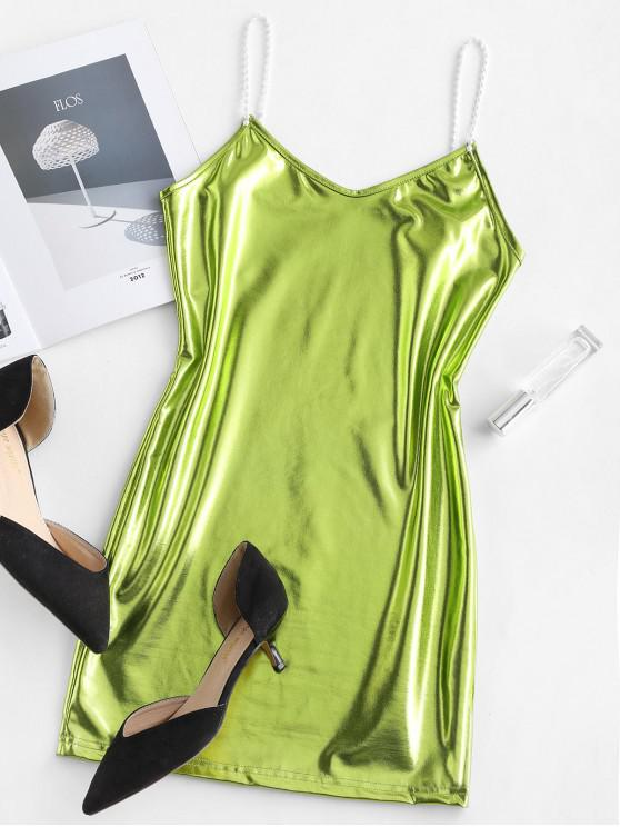 women Metallic Cami Mini Party Dress - SALAD GREEN M