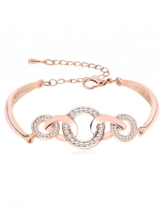 Strass-Loops Design Legierung Armband - Rosé-Gold