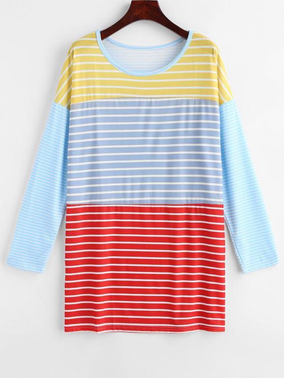 chic Striped Tunic Drop Shoulder Tee - MULTI-A L