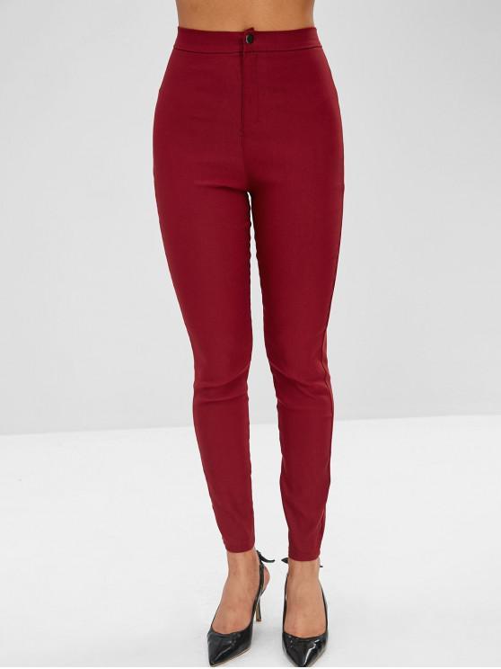 Pantalon Maigre Extensible - Rouge Vineux L