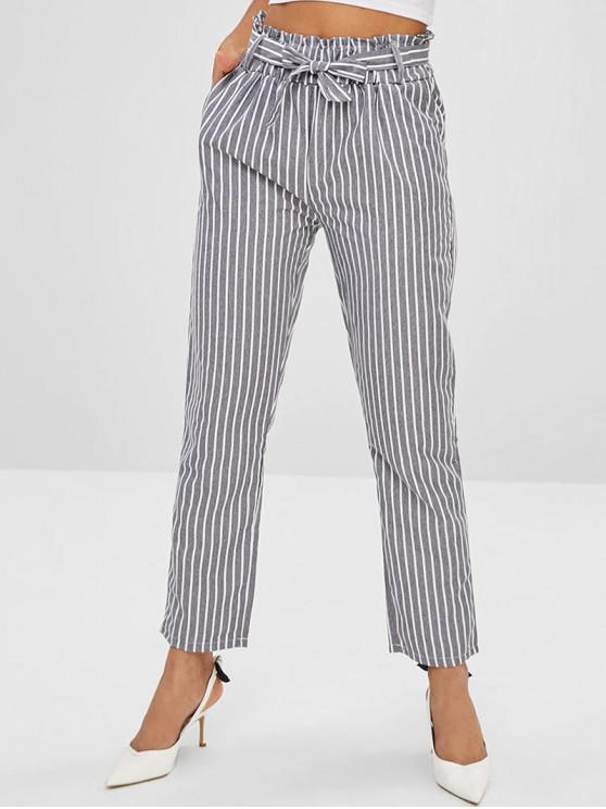 best Pocket Striped Paperbag Waist Pants - BATTLESHIP GRAY XL
