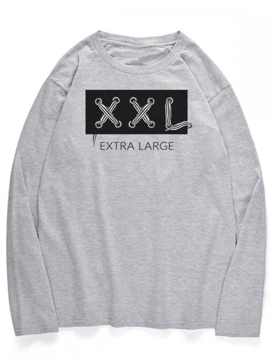 best Letters Graphic Long Sleeves Crew Neck Shirt - LIGHT GRAY M