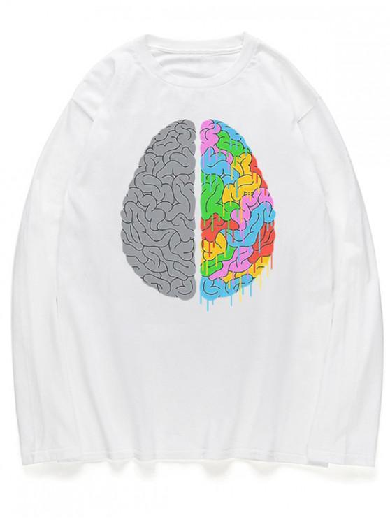 shop Head Braid Print Long Sleeves Shirt - WHITE L