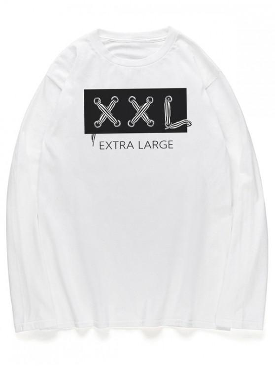 outfit Letters Graphic Long Sleeves Crew Neck Shirt - WHITE XL