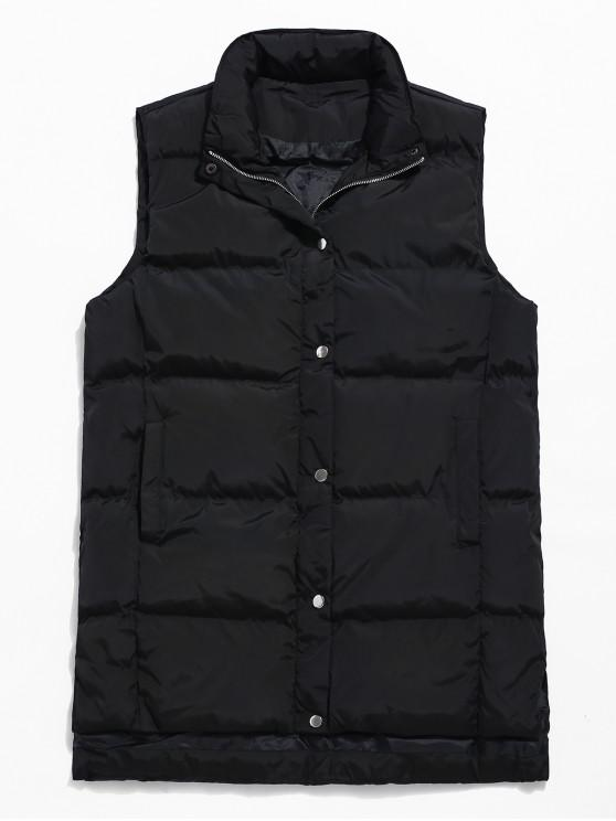 latest Zip Fly Solid Color Padded Vest - BLACK XS